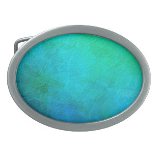 Aquamarine Green Blue Ice Abstract Art Oval Belt Buckle