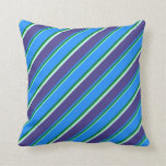 [ Thumbnail: Aquamarine, Green, Blue, Slate Blue & Mint Cream Throw Pillow ]