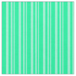 [ Thumbnail: Aquamarine & Green Colored Lined Pattern Fabric ]