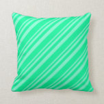 [ Thumbnail: Aquamarine & Green Colored Lined Pattern Pillow ]