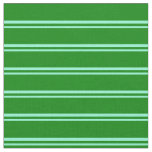 [ Thumbnail: Aquamarine & Green Colored Stripes Fabric ]