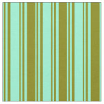 [ Thumbnail: Aquamarine & Green Colored Stripes Pattern Fabric ]