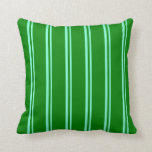 [ Thumbnail: Aquamarine & Green Colored Stripes Throw Pillow ]