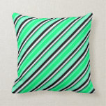 [ Thumbnail: Aquamarine, Green, Dark Slate Gray, White & Black Throw Pillow ]