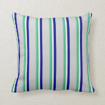 [ Thumbnail: Aquamarine, Green, Mint Cream, Blue & Light Gray Throw Pillow ]