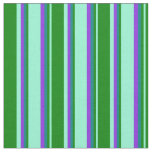 [ Thumbnail: Aquamarine, Green, Teal & Purple Stripes Pattern Fabric ]