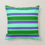 [ Thumbnail: Aquamarine, Green, Teal & Purple Stripes Pattern Throw Pillow ]