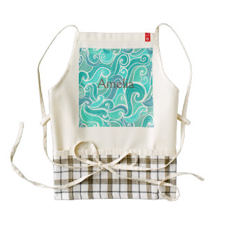 aquamarine,green,turquoise,blue,white,mint,waves,t zazzle HEART apron