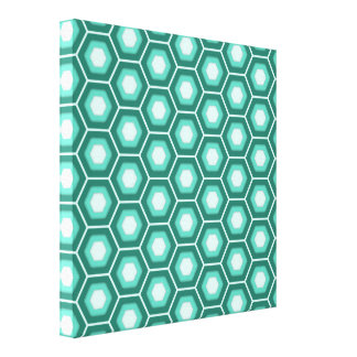 Aquamarine Hex Tiled Canvas