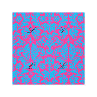 aquamarine,hot pink,damask,pattern,trendy,antique, canvas print
