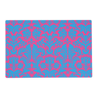 aquamarine,hot pink,damask,pattern,trendy,antique, placemat