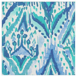 Aquamarine Ikat Fringe Tribal Watercolor Fabric