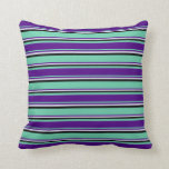 [ Thumbnail: Aquamarine, Indigo, Lavender, and Black Colored Throw Pillow ]
