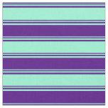 [ Thumbnail: Aquamarine & Indigo Lined/Striped Pattern Fabric ]