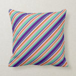 [ Thumbnail: Aquamarine, Indigo, White, Chocolate & Light Pink Throw Pillow ]