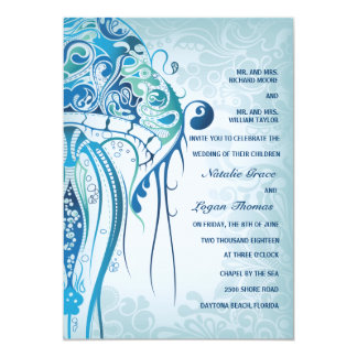 Aquamarine Jellyfish Invitation2 Card