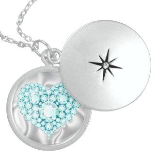 Aquamarine Jeweled Heart Sterling Silver Locket