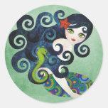 aquamarine, la sirena adolescente pegatina redonda
