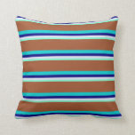 [ Thumbnail: Aquamarine, Lavender, Blue, Dark Turquoise, Sienna Throw Pillow ]