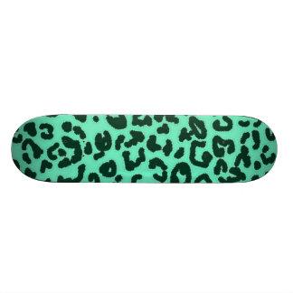 Aquamarine Leopard Animal Print Skateboard Deck