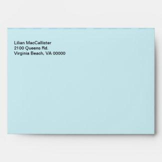 Aquamarine Light Blue Lined Custom Envelopes