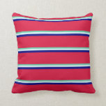 [ Thumbnail: Aquamarine, Light Cyan, Blue, and Crimson Colored Throw Pillow ]
