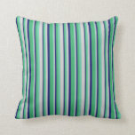 [ Thumbnail: Aquamarine, Light Gray, Midnight Blue & Sea Green Throw Pillow ]