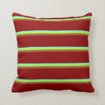 [ Thumbnail: Aquamarine, Light Green, Sienna & Dark Red Colored Throw Pillow ]