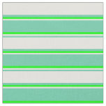 [ Thumbnail: Aquamarine, Light Yellow & Lime Colored Stripes Fabric ]