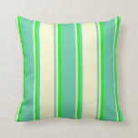 [ Thumbnail: Aquamarine, Light Yellow & Lime Colored Stripes Throw Pillow ]