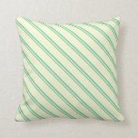 [ Thumbnail: Aquamarine & Light Yellow Striped Pattern Pillow ]