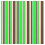 [ Thumbnail: Aquamarine, Lime, Bisque, and Dark Red Stripes Fabric ]