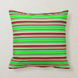 [ Thumbnail: Aquamarine, Lime, Bisque, and Dark Red Stripes Throw Pillow ]