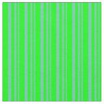 [ Thumbnail: Aquamarine & Lime Colored Lined/Striped Pattern Fabric ]