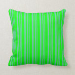 [ Thumbnail: Aquamarine & Lime Colored Lined/Striped Pattern Throw Pillow ]
