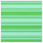 [ Thumbnail: Aquamarine & Lime Green Colored Stripes Pattern Fabric ]