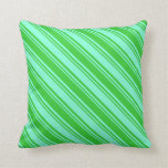 [ Thumbnail: Aquamarine & Lime Green Colored Stripes Pattern Throw Pillow ]