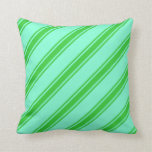 [ Thumbnail: Aquamarine & Lime Green Lined/Striped Pattern Throw Pillow ]