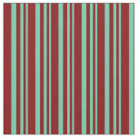 [ Thumbnail: Aquamarine & Maroon Stripes/Lines Pattern Fabric ]