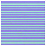 [ Thumbnail: Aquamarine & Medium Slate Blue Lines Fabric ]
