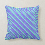 [ Thumbnail: Aquamarine & Medium Slate Blue Lines Throw Pillow ]