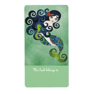 Aquamarine Mermaid Bookplates Labels label