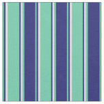 [ Thumbnail: Aquamarine, Midnight Blue, and Lavender Stripes Fabric ]