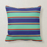 [ Thumbnail: Aquamarine, Midnight Blue, and Red Colored Lines Throw Pillow ]