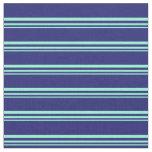 [ Thumbnail: Aquamarine & Midnight Blue Colored Stripes Fabric ]