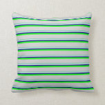[ Thumbnail: Aquamarine, Mint Cream, Dark Blue, Lime & Grey Throw Pillow ]