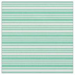 [ Thumbnail: Aquamarine & Mint Cream Lined/Striped Pattern Fabric ]