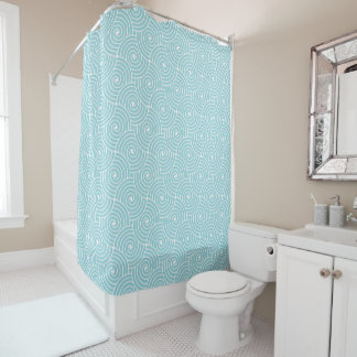 Aquamarine Modern Circles Shower Curtain