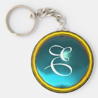 AQUAMARINE MONOGRAM ,blue yellow Basic Round Button Keychain