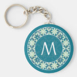 Aquamarine Monogram Floral Tiles Keychain